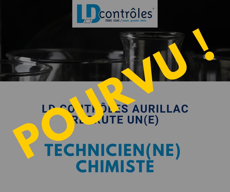 Offre d'emploi pourvu  Technicien(ne) chimiste 25022021